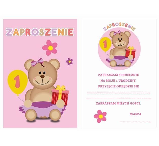 Zaproszenie Na Roczek Różowe 6 Szt Partymarket