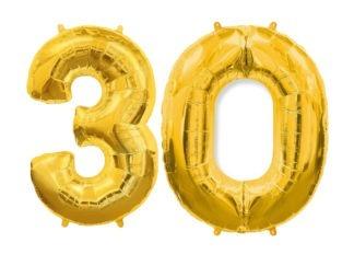 balony złote na trzydziestkę