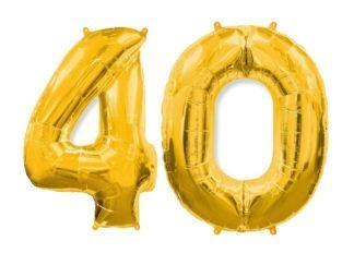 złote balony cyfry 40