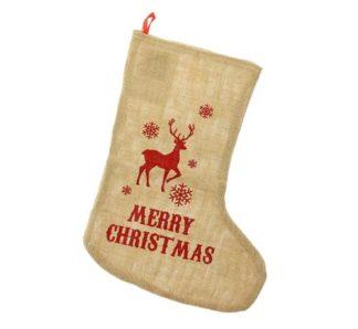świąteczna skarpeta z juty