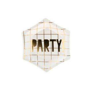 talerzyki sześciokątne złote party