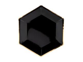 talerzyki czarne ze złotą ramką